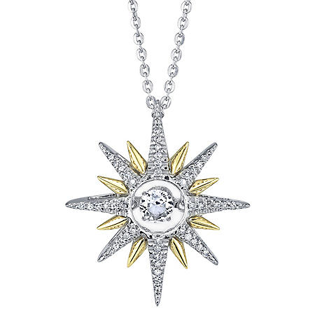 Sterling Silver and 14K Yellow Gold Dancing White Topaz  and 0.13 CT. T.W. Diamond Starburst Pendant