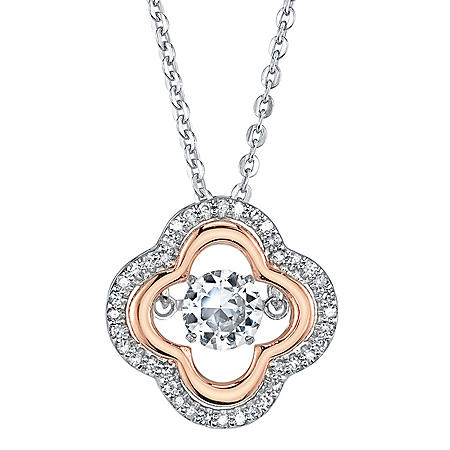 Sterling Silver and 14K Rose Gold Dancing White Topaz and 0.12 CT. T.W. Diamond Clover Pendant