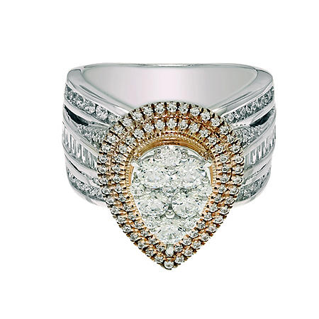 1.95 CT. T.W. Diamond Bridal Ring in 14K Two-Tone Gold