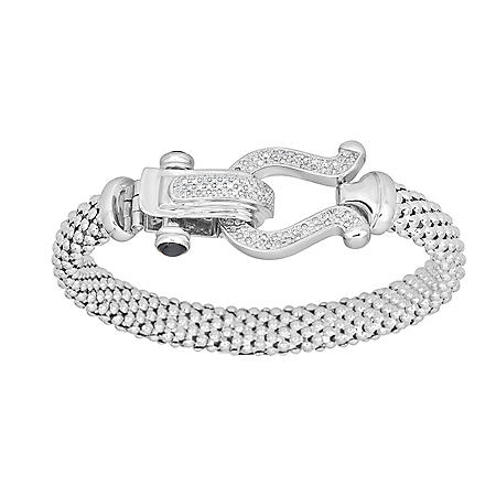 0.32 CT. T.W. Diamond Horseshoe Bracelet in Italian Sterling Silver