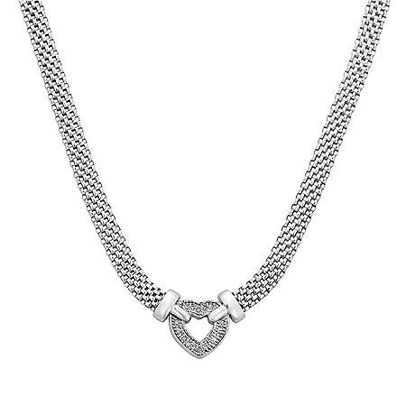 0.12 CT. T.W. Diamond Heart Necklace in Italian Sterling Silver