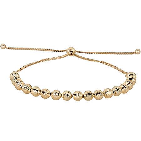 14K Yellow Gold Diamond-Cut Beaded Bolo Bracelet