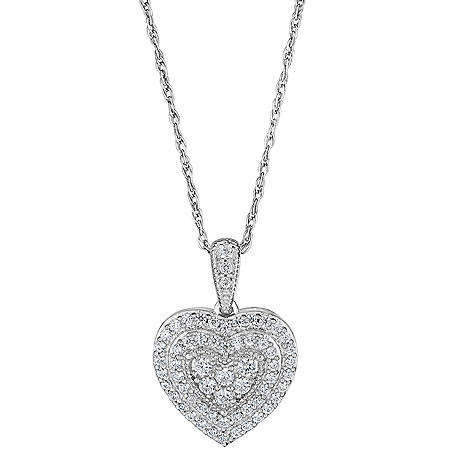 0.50 CT. T.W. Double Halo Diamond Heart Pendant in 14K White Gold (HI, I1)
