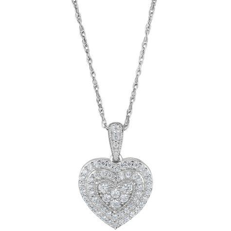 0.50 CT. T.W. Double Halo Diamond Heart Pendant in 14K White Gold (HI, I1)