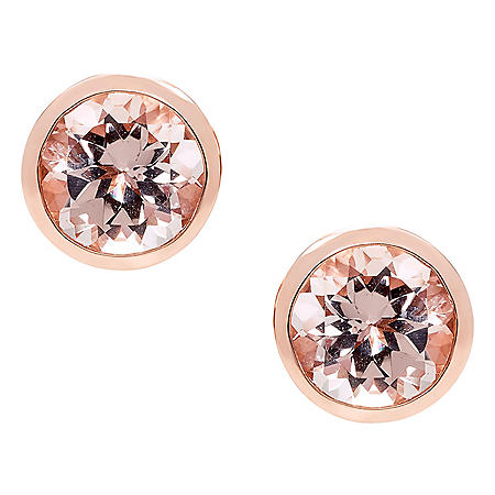 Morganite Bezel 14K Rose Gold Earrings