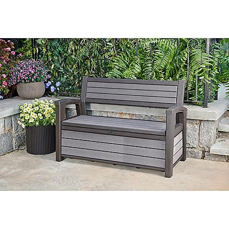 Patio Furniture Storage Bench.Keter Hudson Plastic Storage Bench 60 Gallon Deck Box Sam S Club