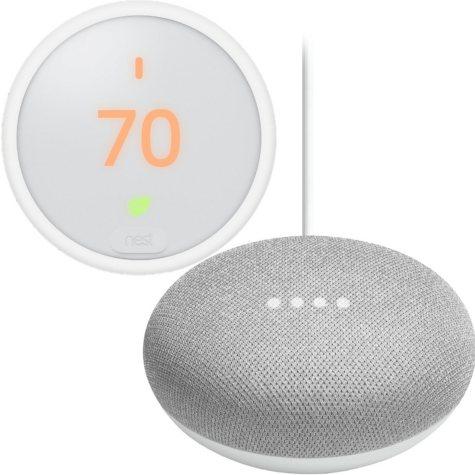 Nest Thermostat E + Google Mini (Chalk) Bundle