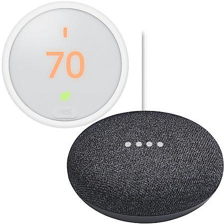 Google Nest Thermostat E + Google Mini (Charcoal) Bundle