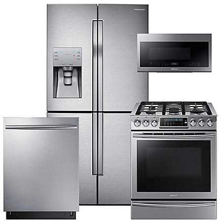 SAMSUNG Counter-Depth Refrigerator with FlexZone, Gas Range, Mircowave, and Dishwasher Package - Stainless Steel - RF23J9011SR, NX58H9500WS, DW80K7050US, ME21M706BAS