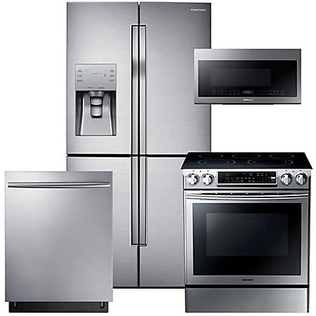 SAMSUNG Counter-Depth Refrigerator with FlexZone, Electric Range, Mircowave, and Dishwasher Package - Stainless Steel - RF23J9011SR, NE58F9500SS, DW80K7050US, ME21M706BAS