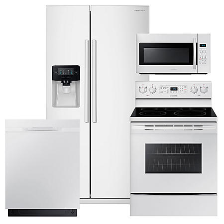 SAMSUNG 24.5 Cu. Ft. Side-by-Side Refrigerator,  Electric Range, Mircowave, and Dishwasher Package - White - RS25J500DWW, NE59M4320SW, DW80K5050UW, ME18H704SFW