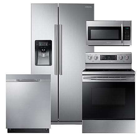 SAMSUNG 24.5 Cu. Ft. Side-by-Side Refrigerator,  Electric Range, Mircowave, and Dishwasher Package - Stainless Steel - RS25J500DSR, NE59M4320SS, DW80K5050US, ME18H704SFS