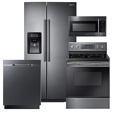 SAMSUNG 24.5 Cu. Ft. Side-by-Side Refrigerator,  Electric Range, Mircowave, and Dishwasher Package - Black Stainless Steel - RS25J500DSG, NE59M4320SG, DW80K5050UG, ME18H704SFG