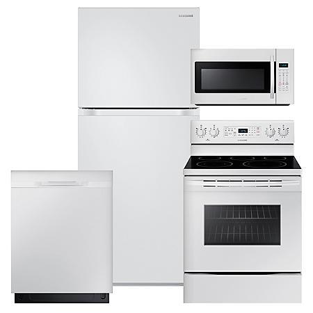 SAMSUNG 18 Cu. Ft. Top Freezer Refrigerator with FlexZone™,  Electric Range, Microwave and Dishwasher Package - White - RT18M6215WW, NE59M4320SW, DW80K5050UW, ME18H704SFW