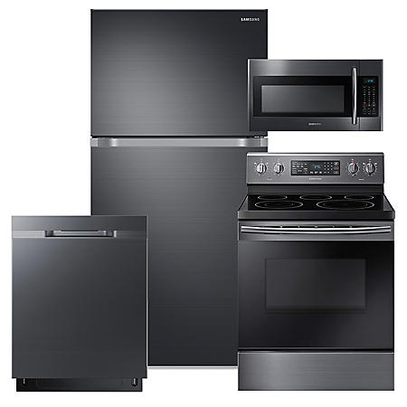 SAMSUNG 18 Cu. Ft. Top Freezer Refrigerator with FlexZone™,  Electric Range, Mircowave, and Dishwasher Package - Black Stainless Steel - RT18M6215SG, NE59M4320SG, DW80K5050UG, ME18H704SFG