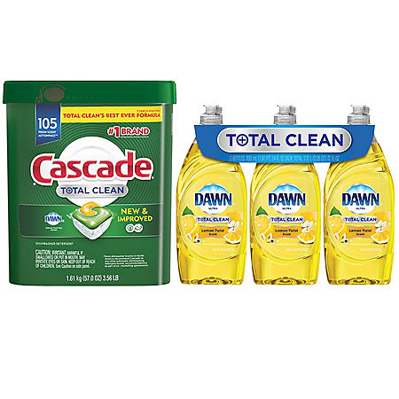 Cascade Total Clean Fresh Scent (105 ct.) and Dawn Total Clean Lemon Twist (24 oz., 3 ct.)