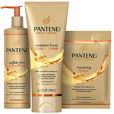 Pantene Gold Series Sulfate-Free Shampoo, Moisture Boost Conditioner and Hair Repairing Mask
