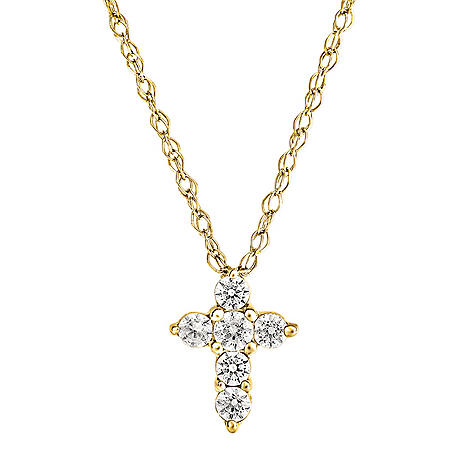 0.08 CT. T.W. Diamond Cross Pendant in 14K Gold