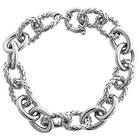 "925 Italian Textured Link Bracelet, 8"""