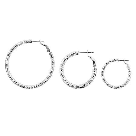 Sterling Silver Italian Diamond Cut Hoop Box Set Earrings