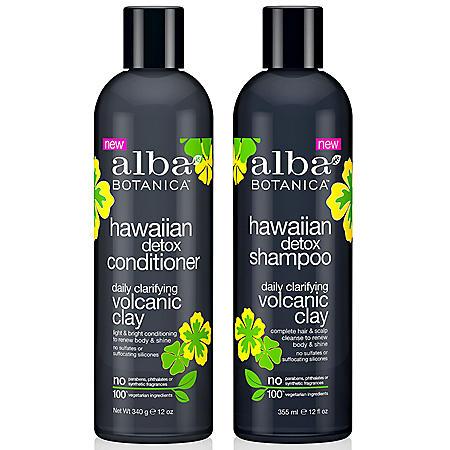 Alba Botanica Hawaiian Detox Volcanic Clay Clarifying Shampoo and Conditioner (1 2oz., 2 pk.)