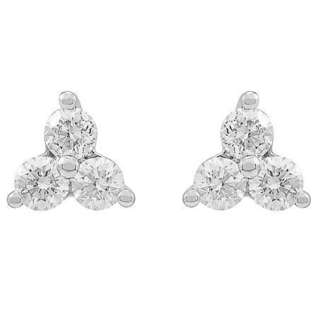 0.47 CT. T.W. 14K White Gold Diamond Cluster Earrings