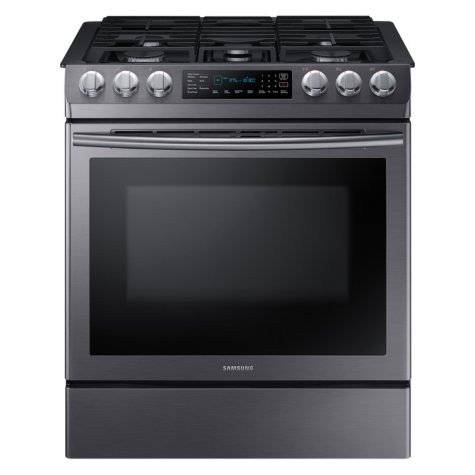 SAMSUNG 5.8 cu. ft. Slide-in Gas Range with Fan Convection - Black Stainless Steel - NX58N9420SG