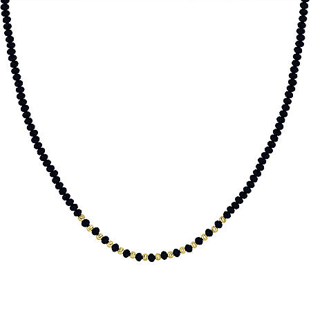"14K Treated Black Onyx Diamond Cut Bead Necklace, 16-17.5"""