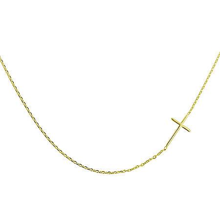"14K Yellow Gold Sideways Cross Necklace, 18"""
