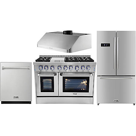 "Thor Kitchen Premium Series 48"" Gas / Dual Fuel Range, 36"" Counter Depth Refrigerator, 48"" Under Cabinet Range Hood, and 24"" Dishwasher Bundle in Stainless Steel (CHOOSE: Fuel Type)"