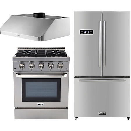 "Thor Kitchen Premium Series 30"" Gas / Dual Fuel Range, 36"" Counter Depth Refrigerator, and 30"" Under Cabinet Range Hood Bundle in Stainless Steel (CHOOSE: Fuel Type)"