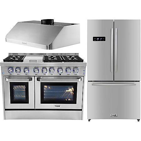 "Thor Kitchen Premium Series 48"" Gas / Dual Fuel Range, 36"" Counter Depth Refrigerator, and 48"" Under Cabinet Range Hood Bundle in Stainless Steel (CHOOSE: Fuel Type)"