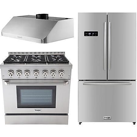 "Thor Kitchen Premium Series 36"" Gas / Dual Fuel Range, 36"" Counter Depth Refrigerator, and 36"" Under Cabinet Range Hood Bundle in Stainless Steel ( CHOOSE: Fuel Type)"