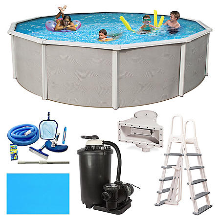 "Barcelona Deluxe Complete 18' Round 52"" Deep Metal Wall Pool Package"