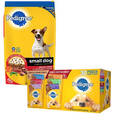 Pedigree Small Dog Targeted Nutrition Steak and Vegetable Dry Dog Food (20 lbs.) + Pedigree Pouches 6 Flavor Variety Pack (3.5 oz., 30 ct.) Bundle