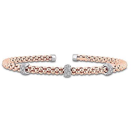 0.21 CT. T.W. Diamond Bangle Bracelet in 14K Two-Tone Gold