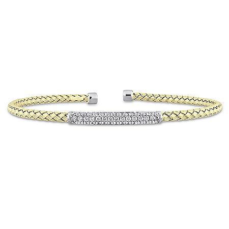 Allura 0.40 CT. T.W. Diamond Bangle Bracelet in 14K Two Tone White and Yellow Gold