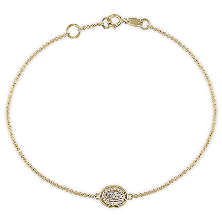 Diamond Accent Circle Cluster Bracelet in 14K Yellow Gold