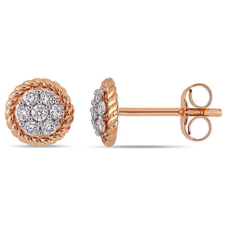 0.22 CT. T.W. Diamond Floral Cluster Earrings in 14K Gold