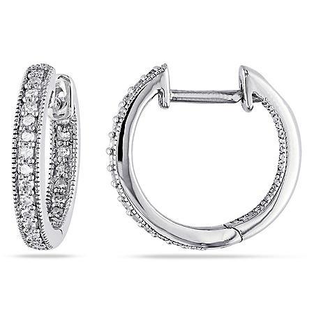0.23 CT. T.W. Inside Outside Diamond Hoop Earrings in 14K Gold