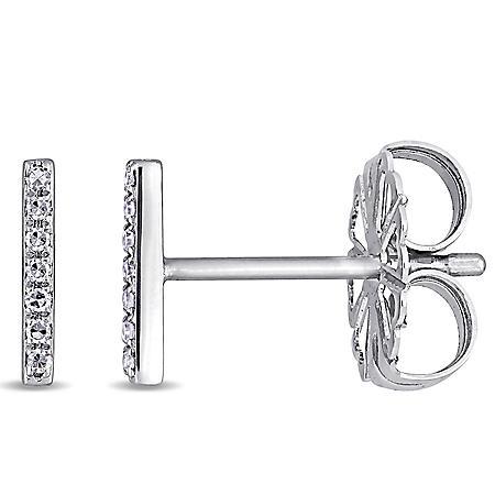 Diamond-Accent Linear Bar Earrings in 14K White Gold