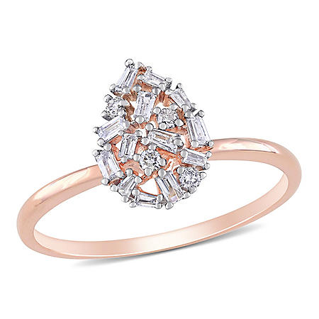 0.23 CT. T.W. Tapered Baguette Diamond Teardrop Ring in 14K Rose Gold