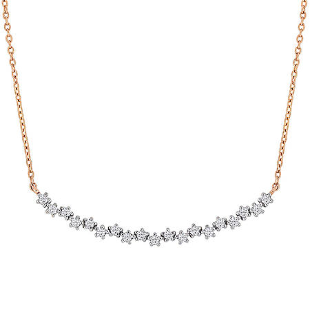 0.30 CT. T.W. Diamond Bar Necklace in 18K Rose Gold