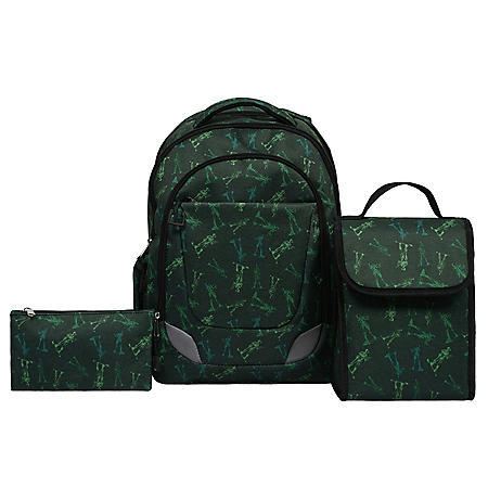 Crckt Youth 3 Piece Backpack Set with Lunch Kit and Matching Pencil Bag