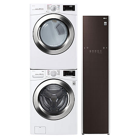 LG Ultimate Laundry Room - WM3700HWA Stackable Ultra Large Capacity Front Load Washer Steam Dryer, and Styler Garment Care Suite - White (Choose Fuel Type)