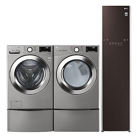 LG Side-by-Side on SideKick Pedestal Washer Ultimate Laundry Room in Graphite