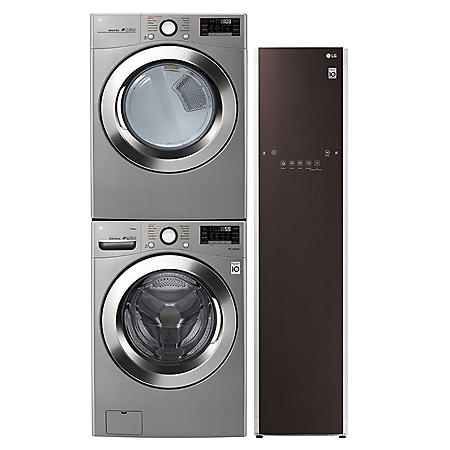LG Ultimate Laundry Room - WM3700HVA Stackable Ultra Large Capacity Front Load Washer, Steam Dryer, and Styler Garment Care Suite - Graphite (Choose Fuel Type)