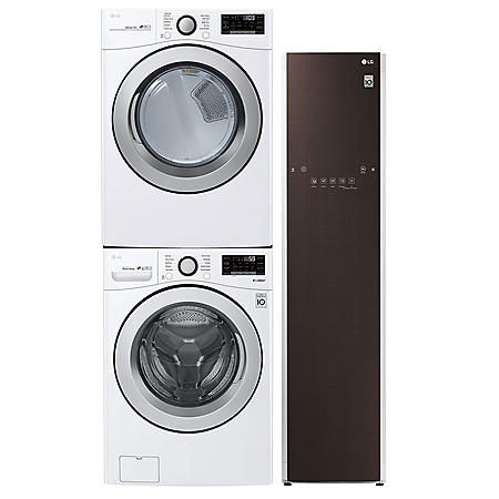 LG Stackable 4.5 cu. ft. Front Load Washer & 7.4 cu. ft. Dryer & Steamer - Graphite Steel