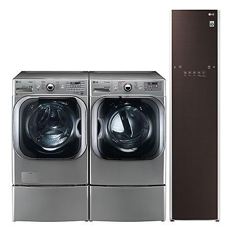 LG 5.2 cu. ft. Front Load Washer & 9.0 cu. ft. Dryer on SideKick Pedestal & Steamer - Graphite Steel
