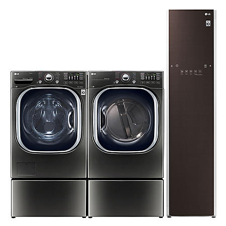 LG Ultimate Laundry Room - WM4370HKA Ultra Large Capacity Washer, Steam Dryer, SideKick Washer, Pedestal, and Styler Garment Care Suite - Black Stainless Steel (CHOOSE: Fuel Type)